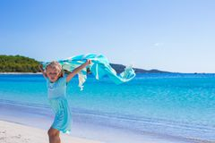 Little girl during tropical vacation have fun on Stock Photos