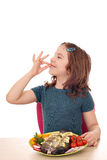 Little girl with trout Stock Images
