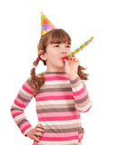 Little girl with trumpet birthday party Royalty Free Stock Photography