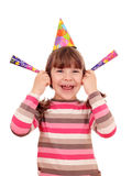 Little girl with trumpets and hat birthday party Royalty Free Stock Images