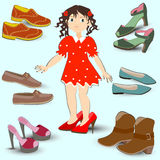 Little girl trying on big shoes, Royalty Free Stock Images