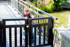 Little girl trying to open a closed wooden gate. Royalty Free Stock Images