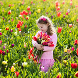 Little girl in tulip flower garden Stock Image