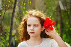 Little girl with tulip flower, summer background royalty free stock photo
