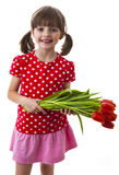 Little girl with tulips Royalty Free Stock Photo