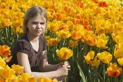 Little girl in tulips field Stock Image