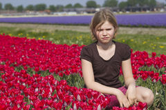 Little girl in tulips field Royalty Free Stock Image