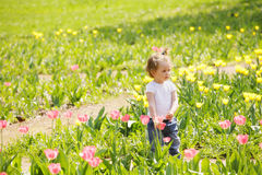 Little girl among tulips Royalty Free Stock Images