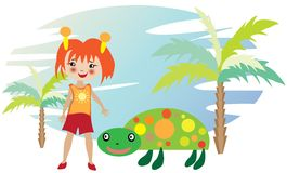 Little girl with turtle Royalty Free Stock Photography