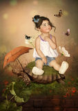 Little girl on the turtle Stock Photos