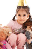 The little girl with a two dolls Stock Images