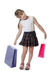 The little girl with a Two packages isolated Royalty Free Stock Photos