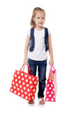 The little girl with two packages isolated royalty free stock photo