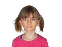 Little girl with two pigtails Stock Photos