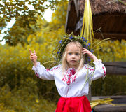 Little girl in ukrainian clothes Royalty Free Stock Images
