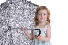 Little girl with umbrella. Isolated on white background Stock Images