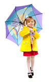 Little girl with an umbrella. On a white background Stock Images