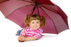 Little girl with umbrella. Isolated Royalty Free Stock Image
