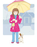 Little girl with umbrella. Little girl with the toy and her pet in the rainy day Royalty Free Stock Image