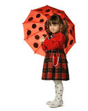 The little girl with a umbrella. It is isolated on a white background Royalty Free Stock Photos