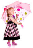 Little girl with an umbrella. The little girl with an umbrella Stock Photography