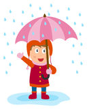 Little Girl with Umbrella. A cute little girl with a pink umbrella in a rainy day. Eps file available Royalty Free Stock Photos