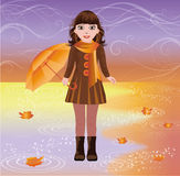 Little girl with umbrella, autumn card Stock Photo
