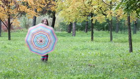 Little girl with umbrella in autumn park stock video