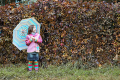 Little girl with umbrella autumn Royalty Free Stock Photos