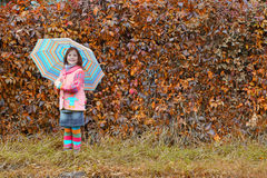 Little girl with umbrella autumn season Stock Photos