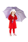 Little girl with umbrella isolated Stock Image