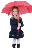 Little girl with umbrella , isolated on white Stock Photography