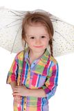 The little girl with an umbrella. Isolated on a Royalty Free Stock Photos