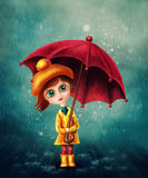 Little girl with umbrella vector illustration