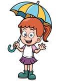 Little girl with umbrella. Vector illustration of Little girl with umbrella Stock Image