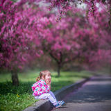 Little girl under blooming crabapple stock photo