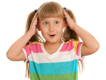 Little girl under the impression Stock Photography