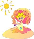 Little girl under the sunshade. Stock Image