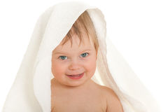 Little girl under towel Royalty Free Stock Photos