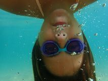Little girl underwater in the sea Royalty Free Stock Image