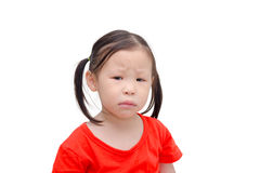 Little girl with unhappy face over white Stock Photos