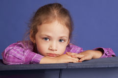 Little girl upset and thinking stock photography