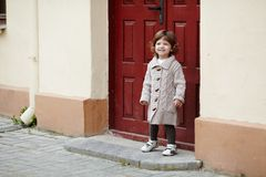 Little girl urban stylish portrait Royalty Free Stock Photo