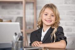 Little Girl Using Digital Device Modern Technology stock images