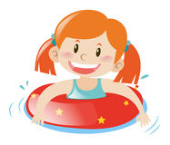 Little girl using floating rubber. Illustration Royalty Free Stock Photography
