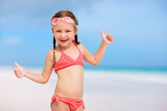 Little girl on vacation. Adorable little girl at beach during summer vacation Stock Image