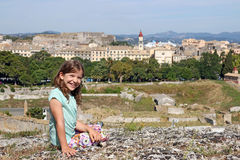 Little girl on vacation Corfu town Greece Stock Photos