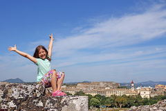 Little girl on vacation Corfu town Greece Royalty Free Stock Images