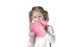 Little Girl with Valentine Stock Photo