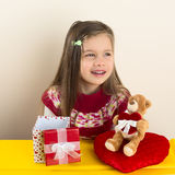 Little Girl with Valentine Day Presents royalty free stock images